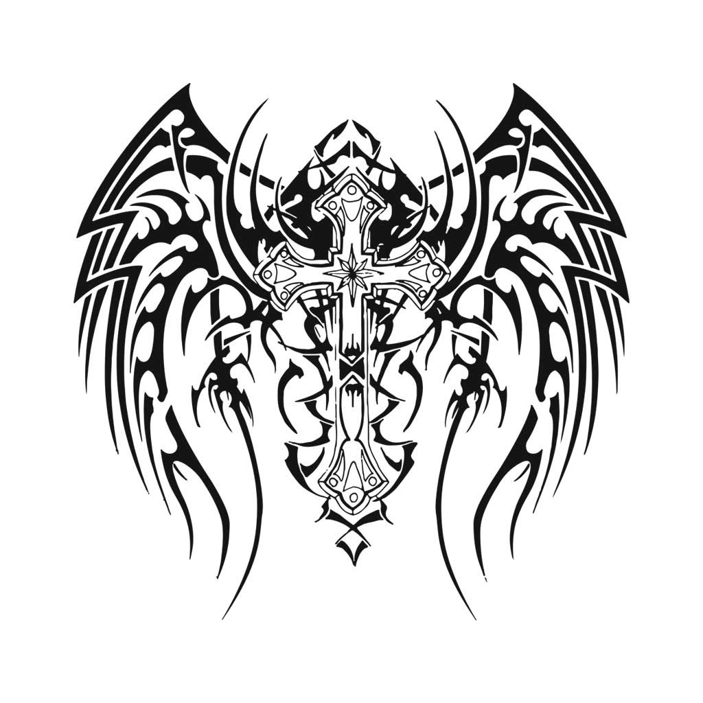 GOTHIC WINGED CROSS