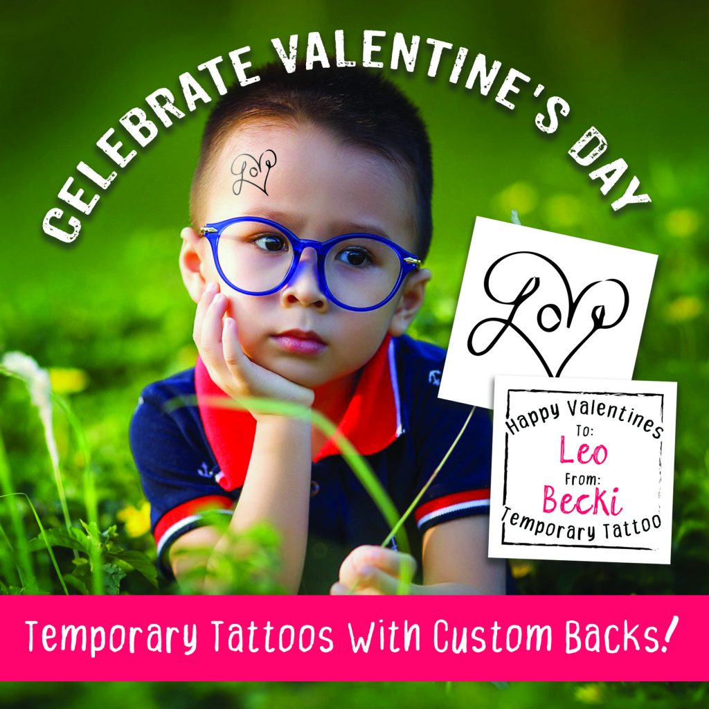 Custom Valentines Temporary Tattoos