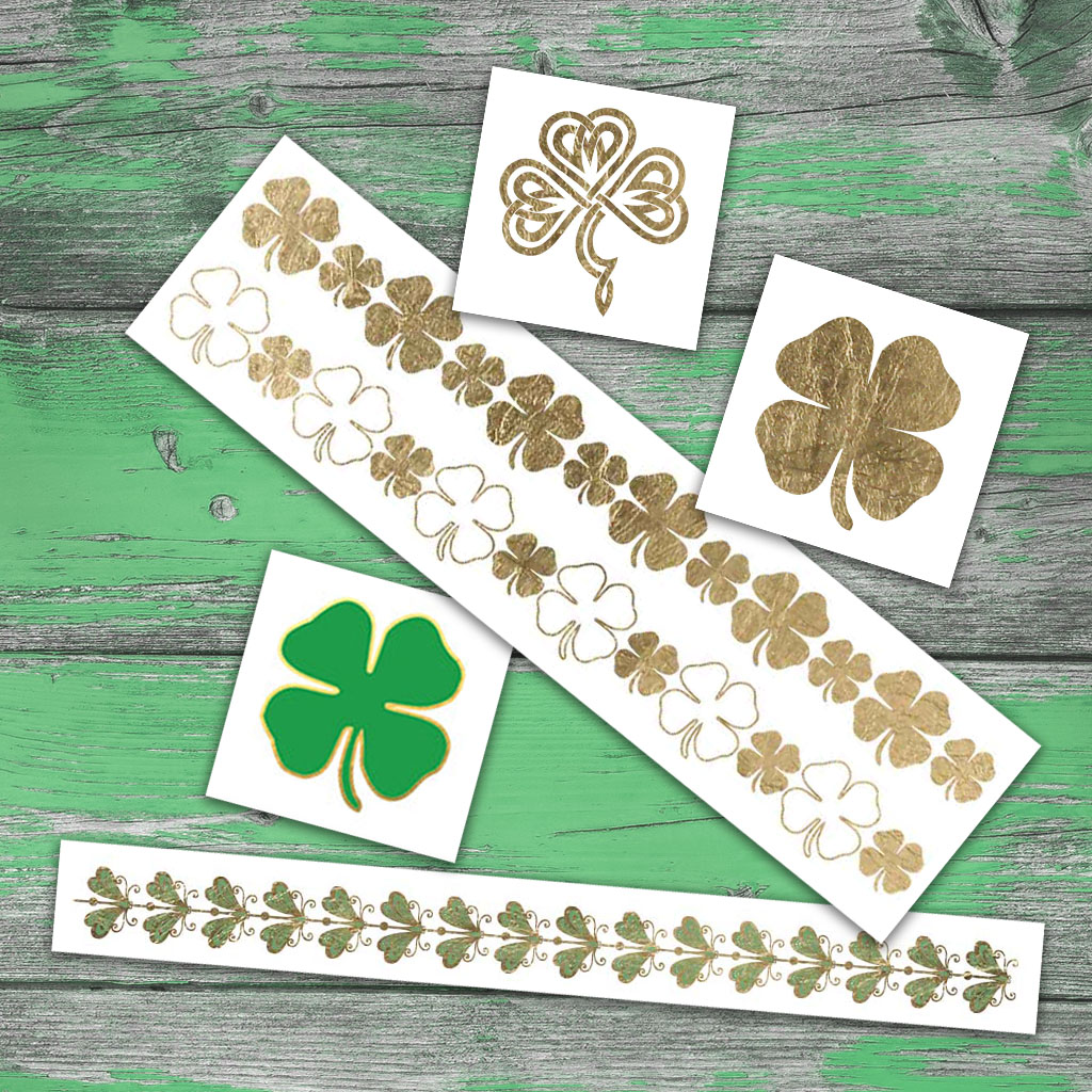 A variety of St. Patrick's Day Temporary Tattoos