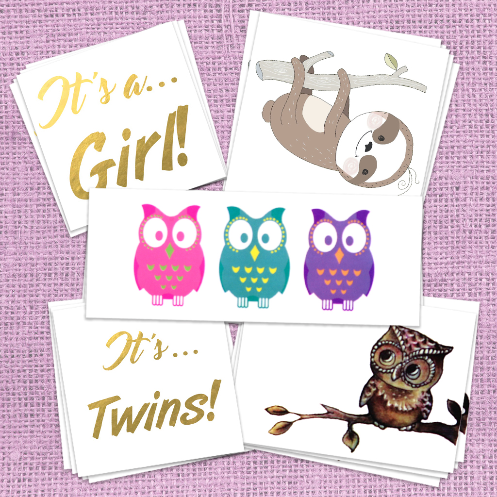 Girl Baby Shower Themed Temporary Tattoos