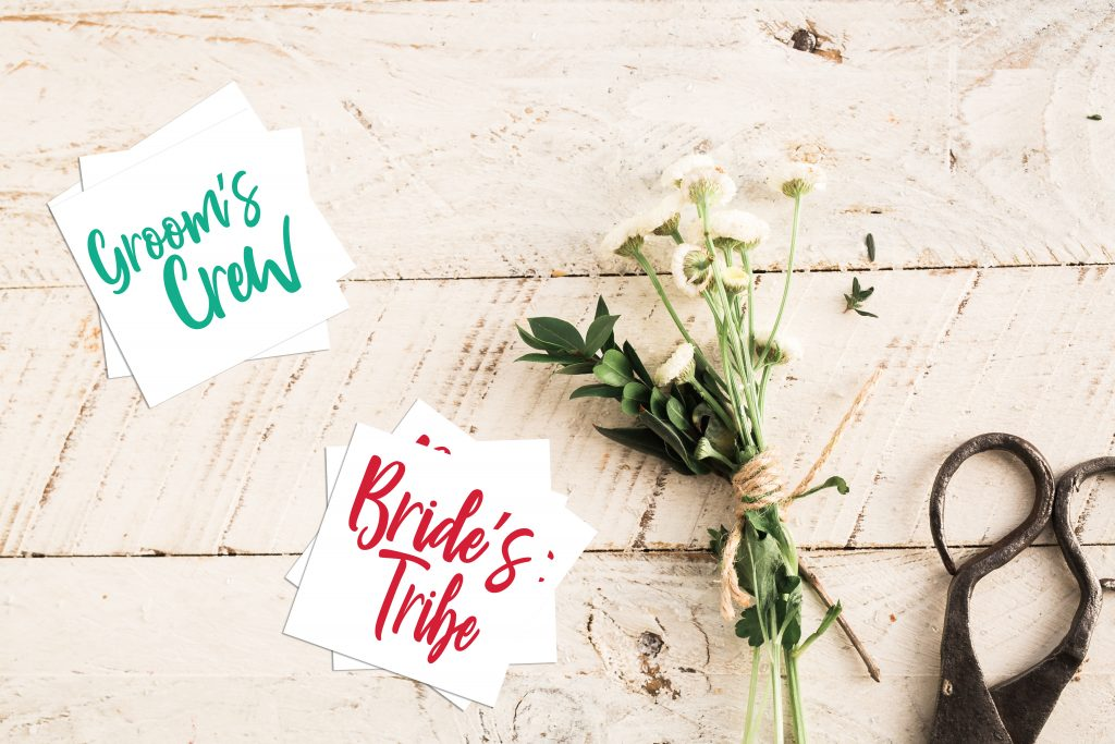 Groom's Crew and Bride's Tribe Custom Wedding Temporary Tattoos