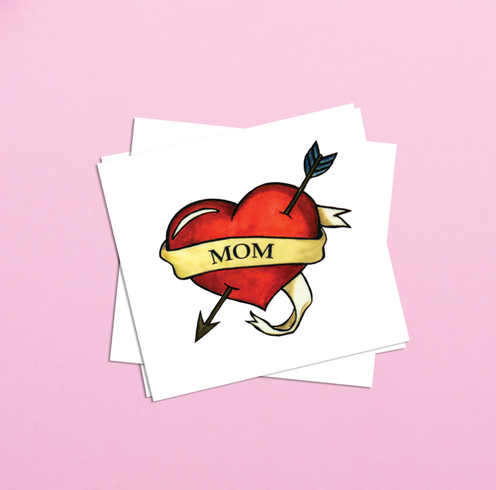 Mom Heart Mother's Day Temporary Tattoos