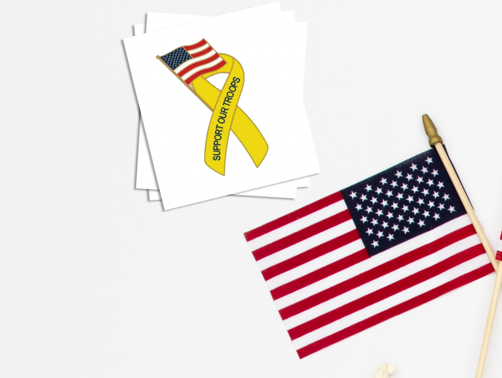 Support the Troops Custom Memorial Day Temporary Tattoos
