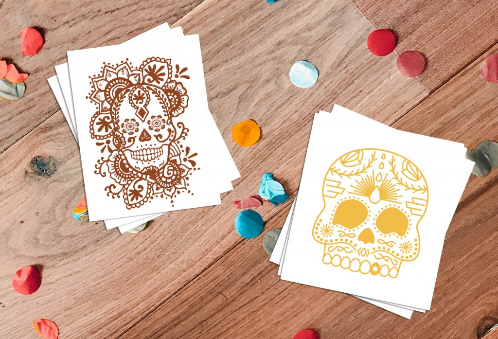 Sugar Skull Custom Cinco De Mayo Temporary Tattoos