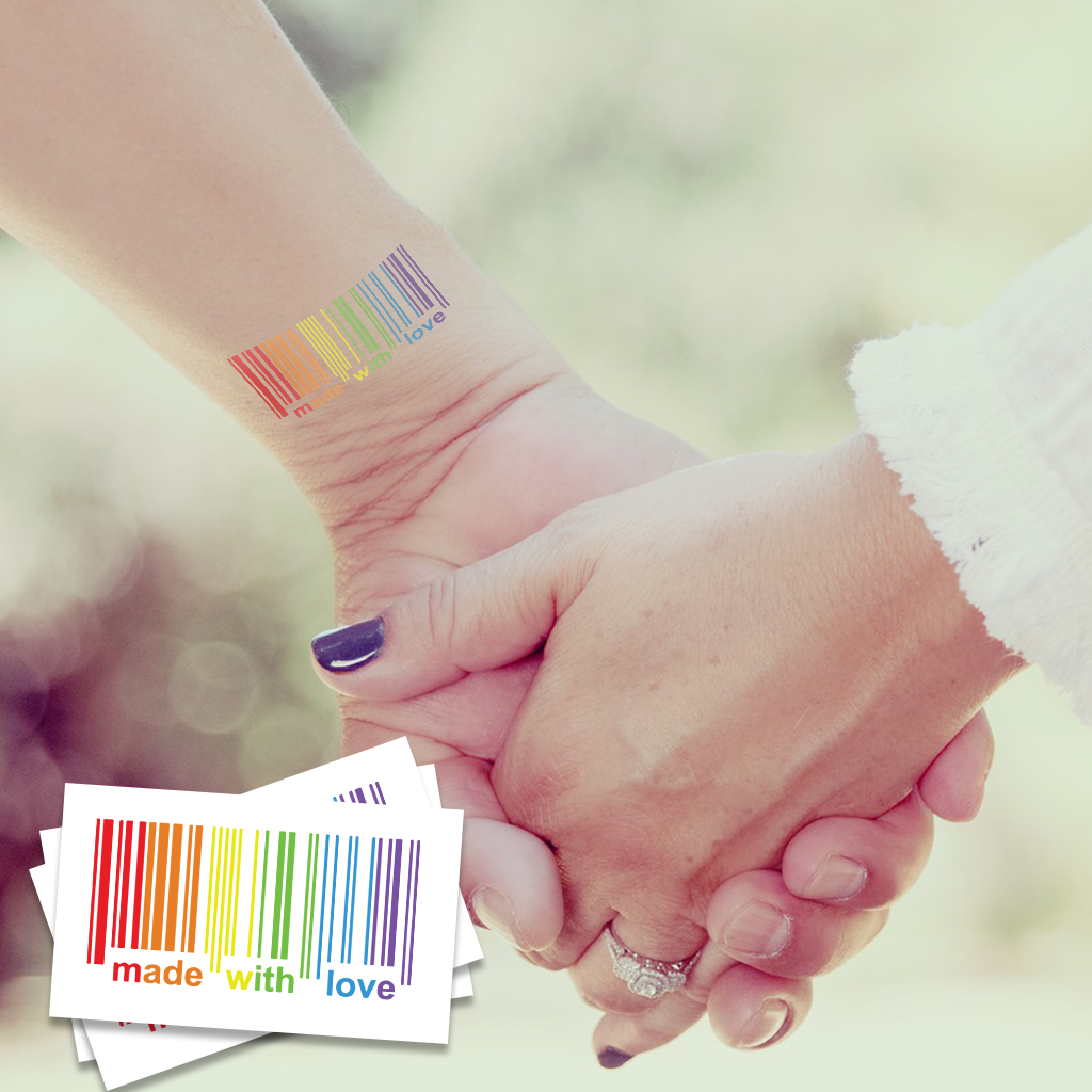 Made with Love Pride Temporary Tattoos