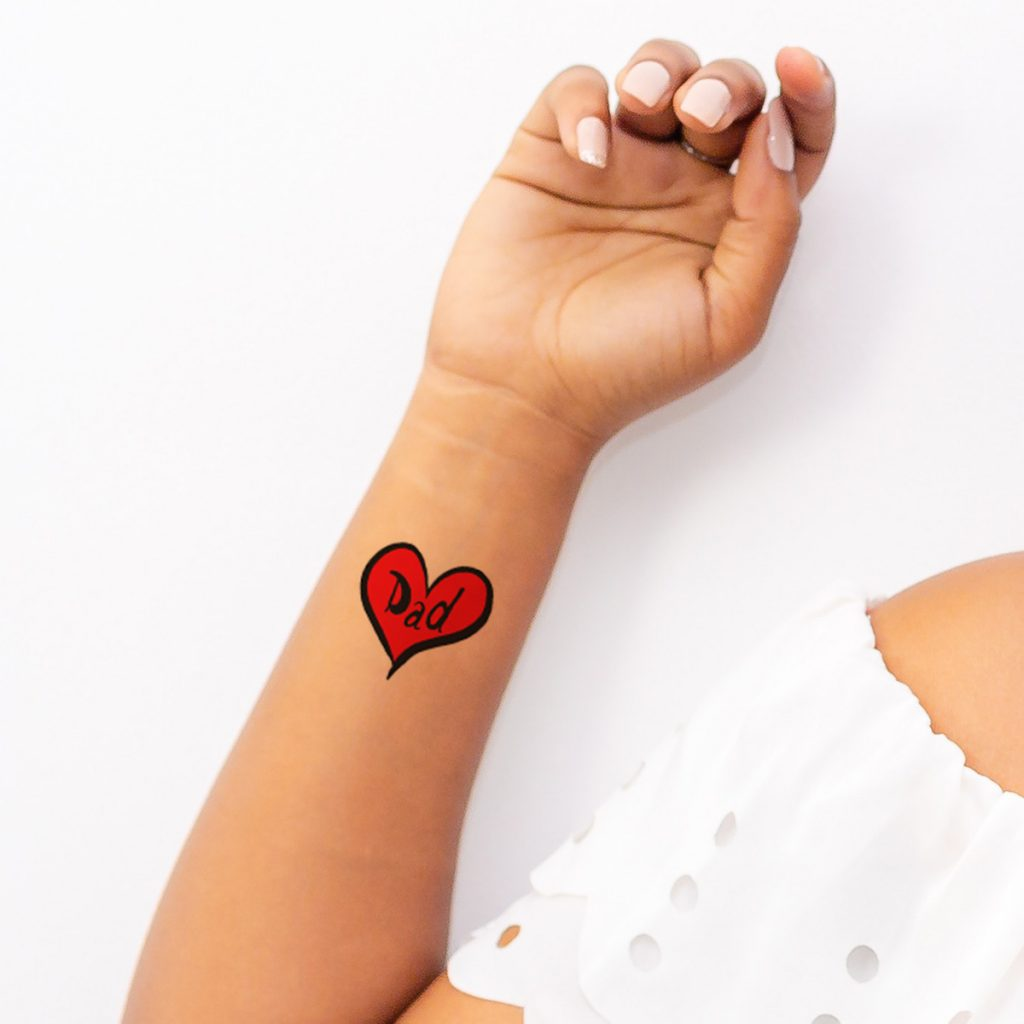 Contemporary Dad Heart Father's Day Temporary Tattoos