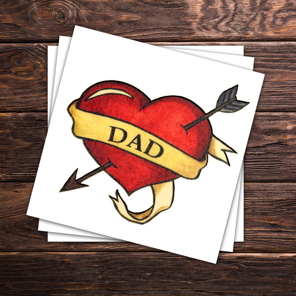 Dad Heart Father's Day Temporary Tattoos