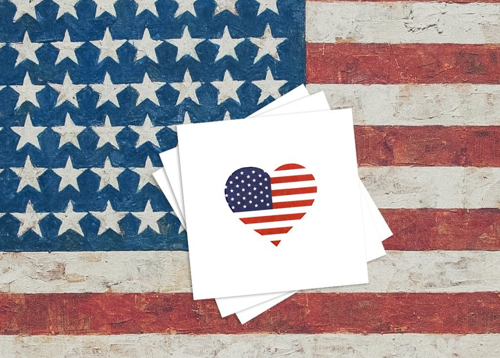 American Heart Flag Memorial Day Temporary Tattoos