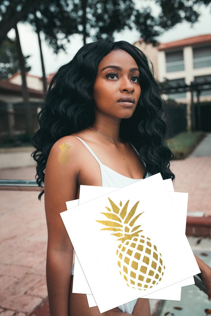 Gold Pineapple Beach Temporary Tattoos