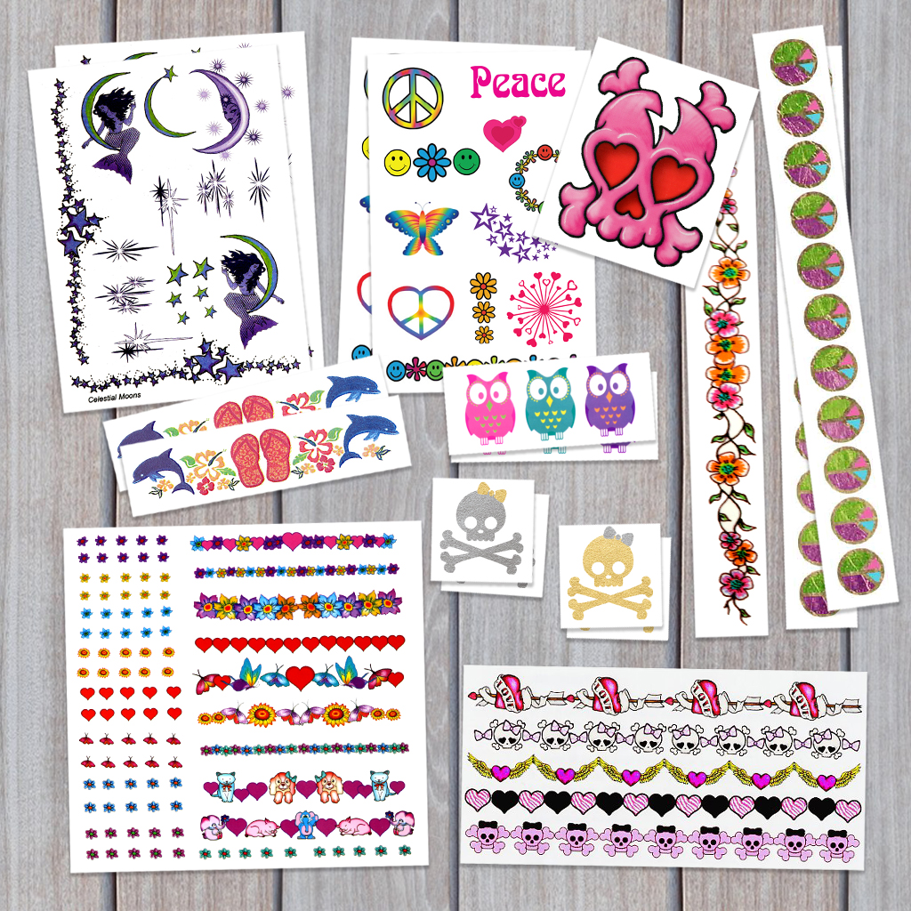 Kid Girl Birthday Party Temporary Tattoos