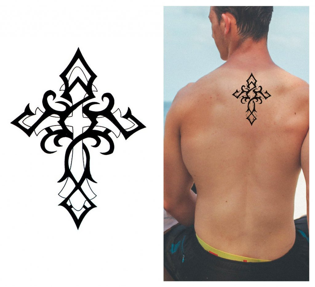 Tribal Cross spiritual symbol temporary tattoos